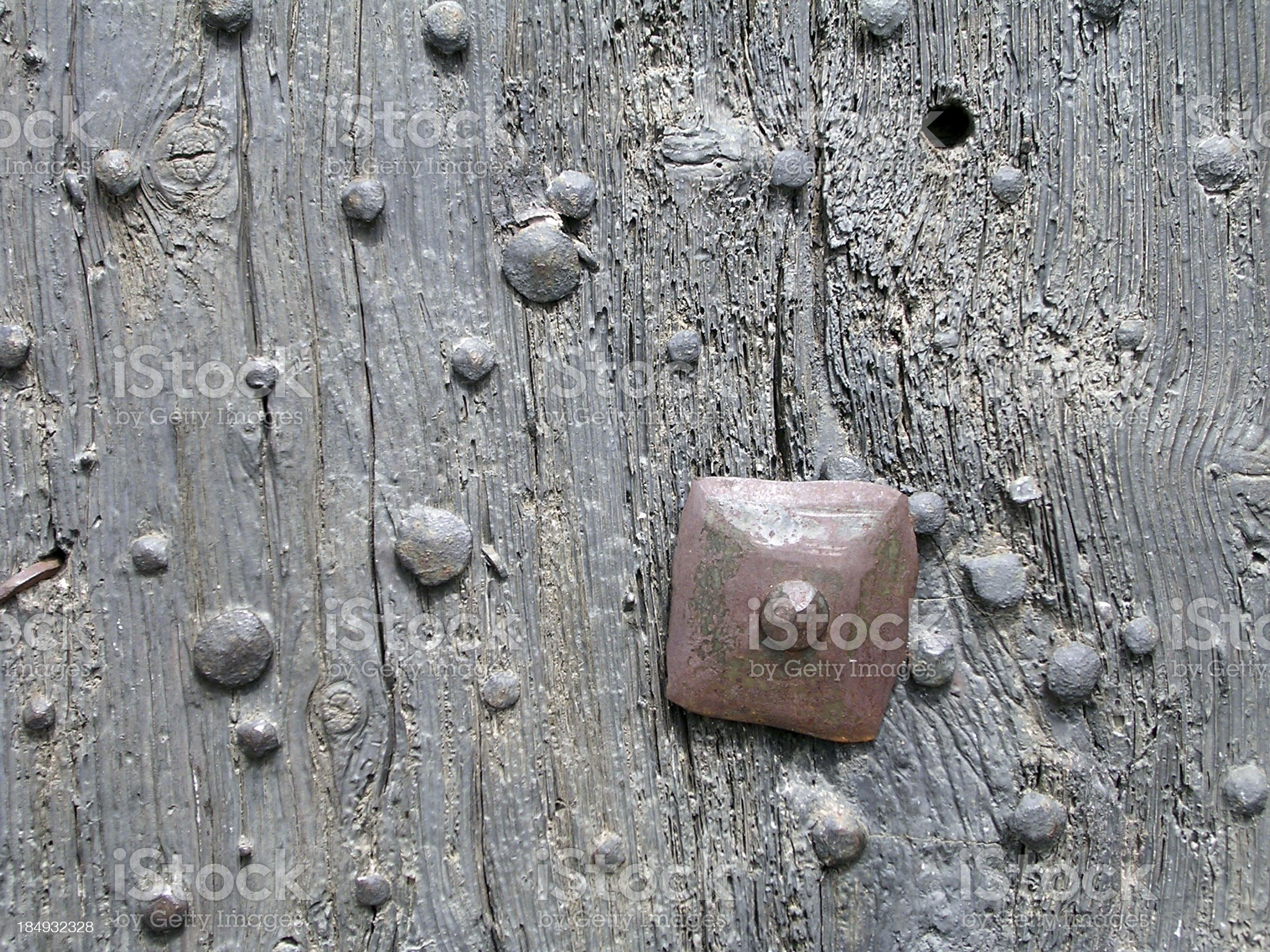 Old nails in a door royalty-free stock photo