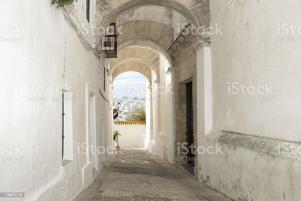 Old narrow street in Spain stock photo