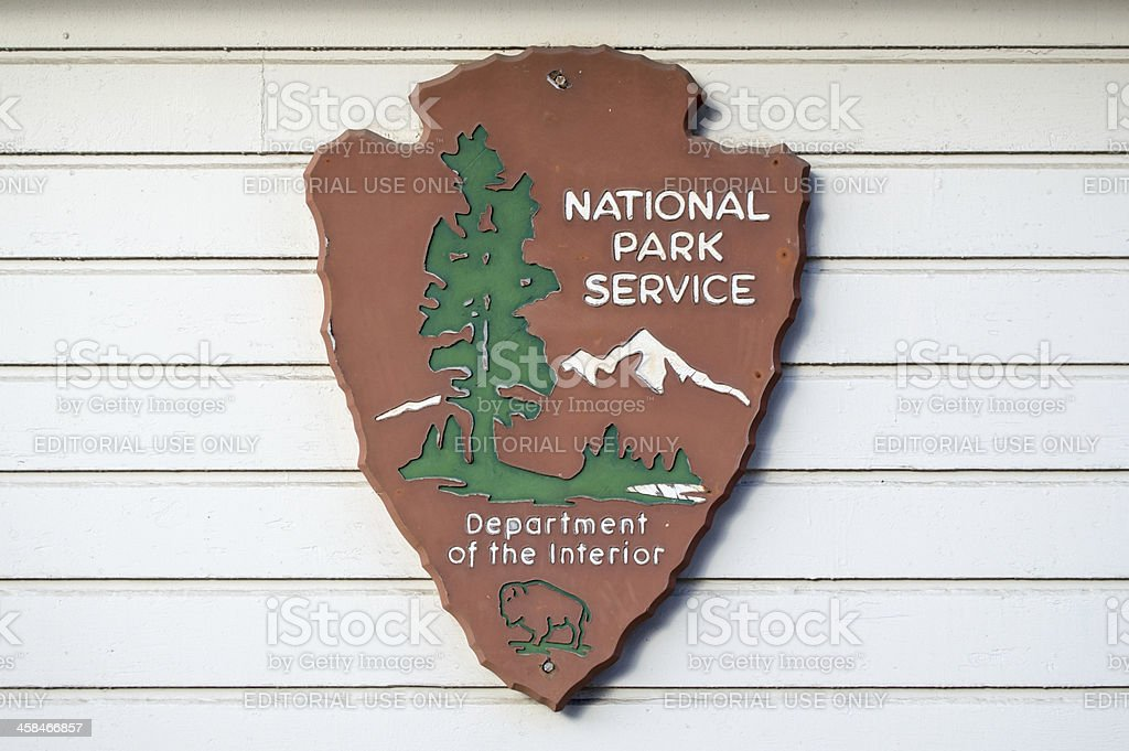 Old National Park Service Sign stock photo
