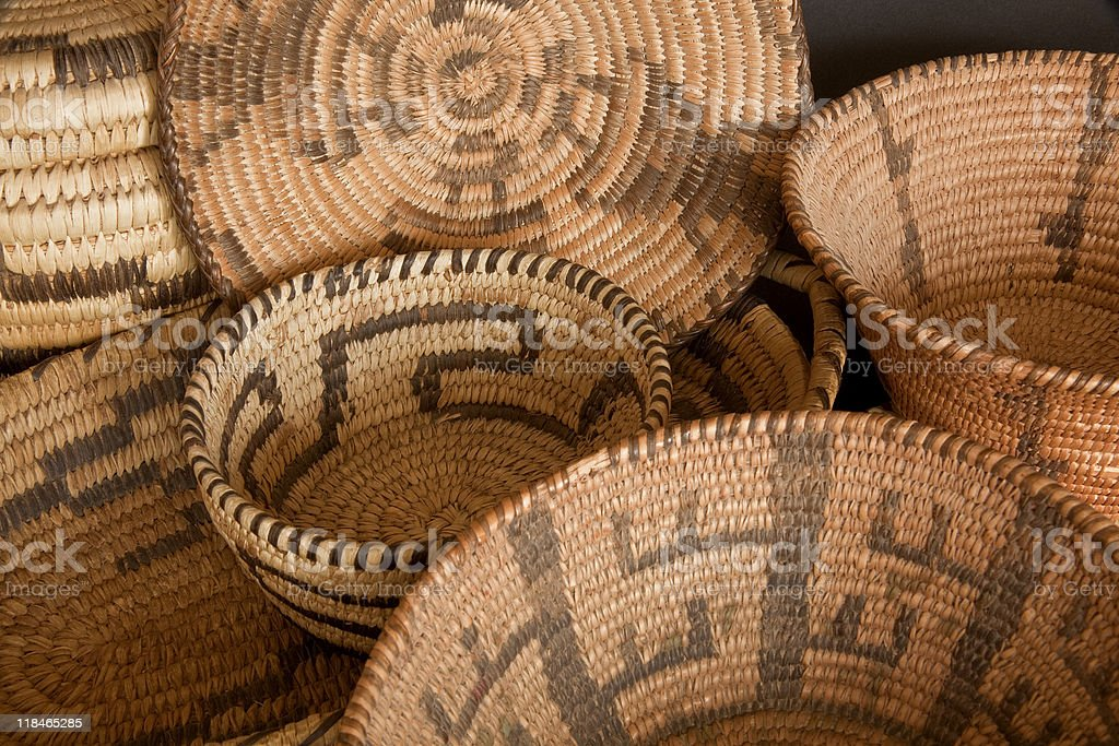 Old Native American Pima and Papago baskets stock photo