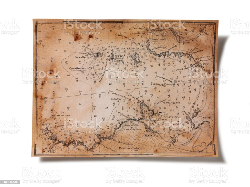 Old Nautical Chart Isolated royalty-free stock photo
