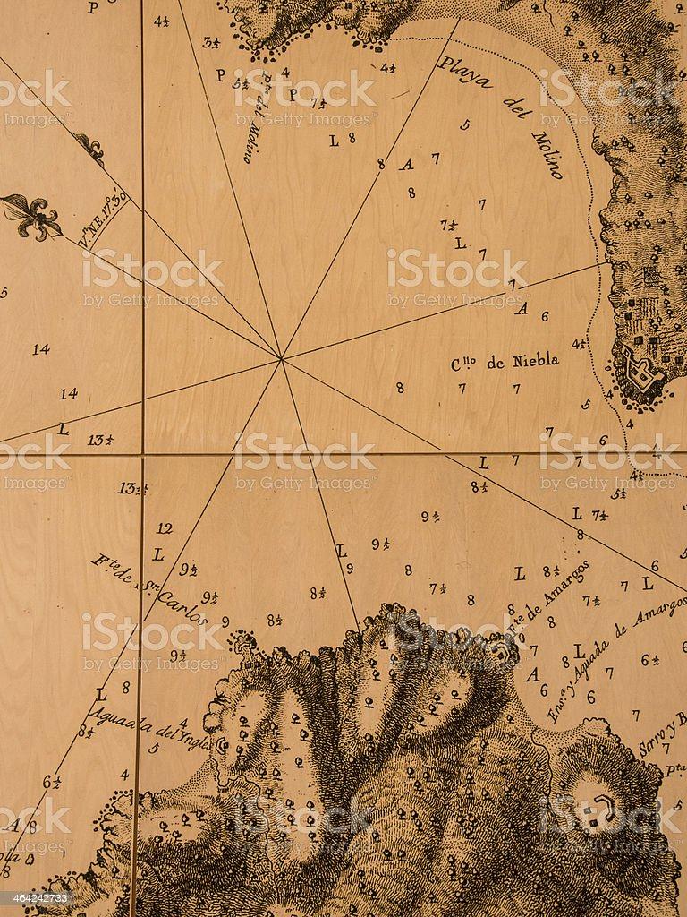 Old nautical chart stock photo