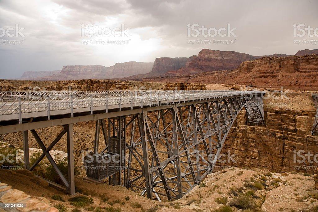 old Navajo Bridge spanning the  Colorado at Marble Canyon stock photo