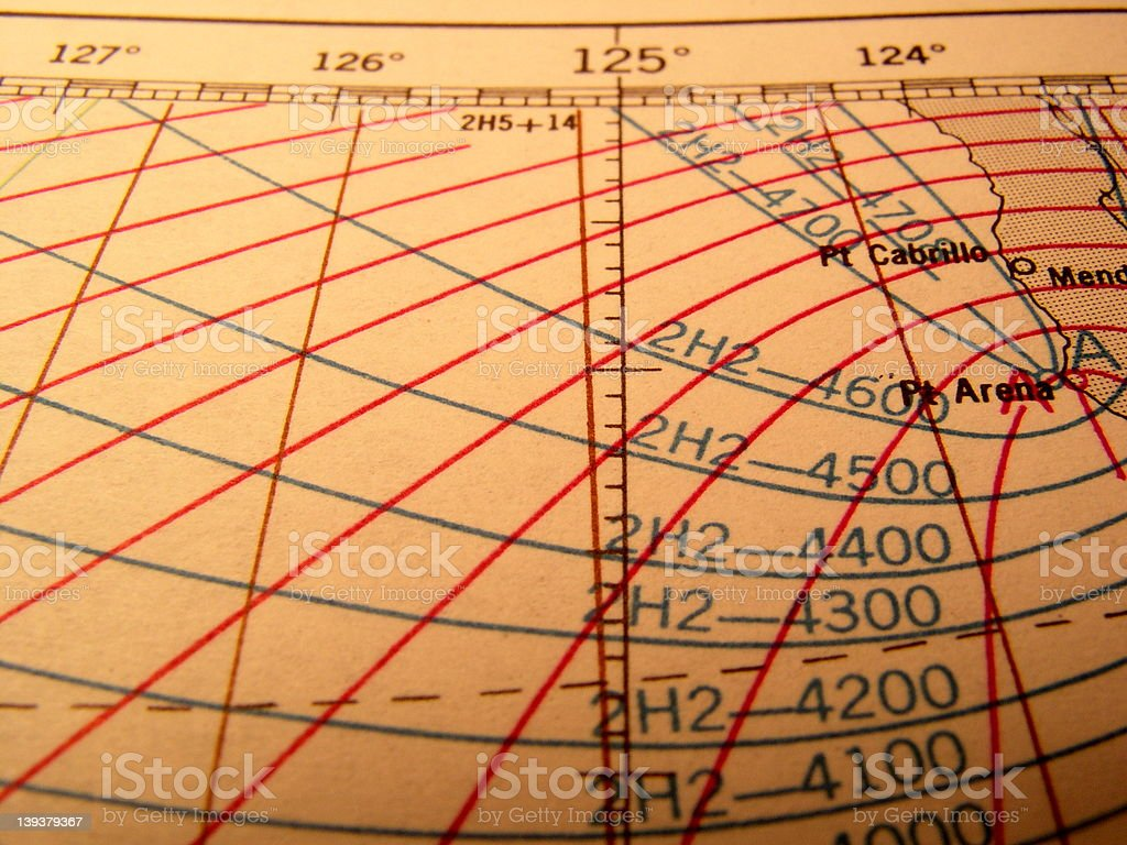 Old Navigational Chart royalty-free stock photo