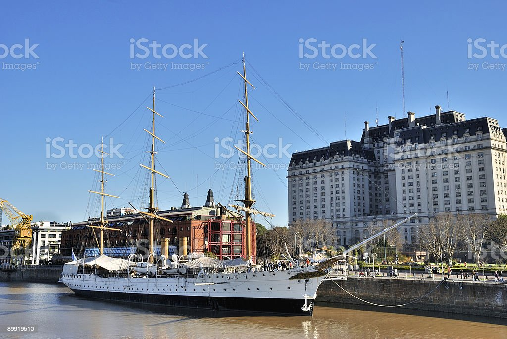 Old navy ship, Military frigate. Puerto Madero, stock photo
