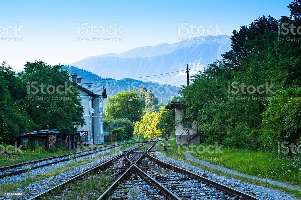 old neglected railway track and signal box  in Bled Slovenia stock photo