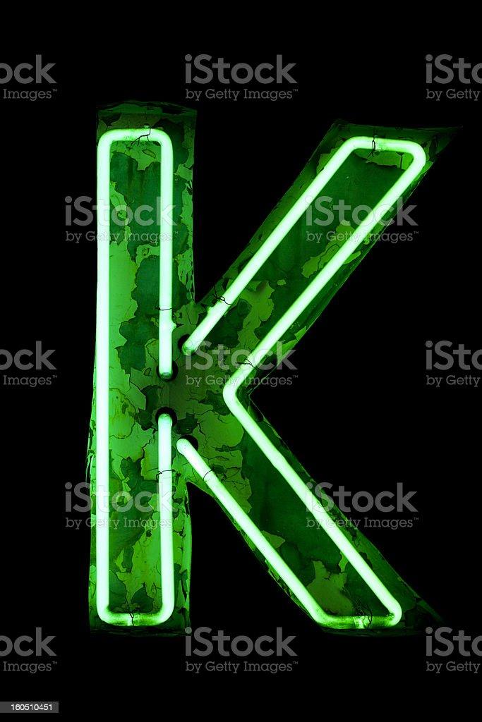 Old Neon Light letter K royalty-free stock photo
