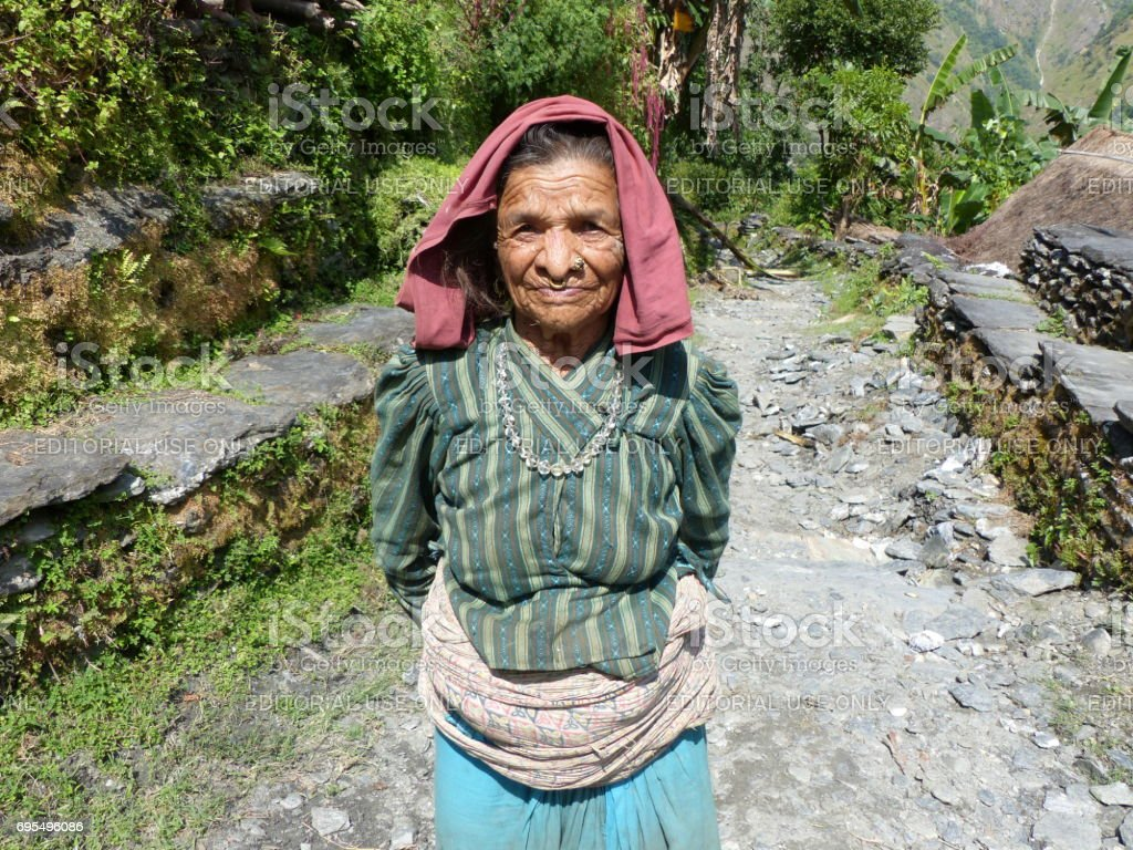 Old nepalese woman stock photo