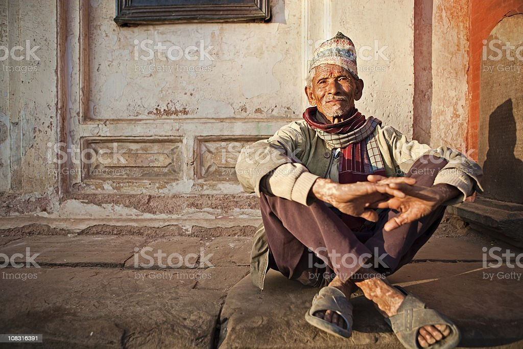 Old Nepali man stock photo