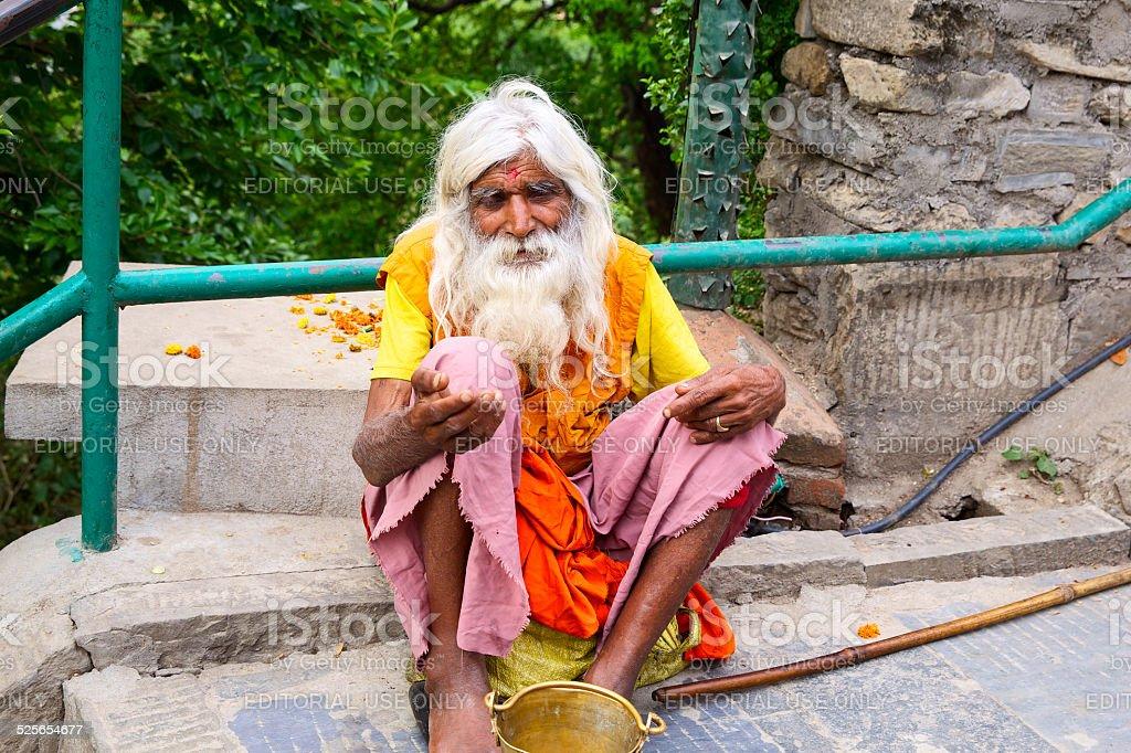 Old Nepali man stock photo
