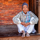 Old Nepali man resting in Kathmandu