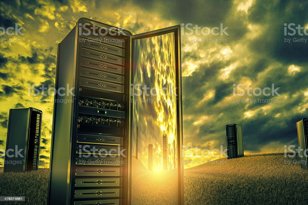 Old network servers stock photo