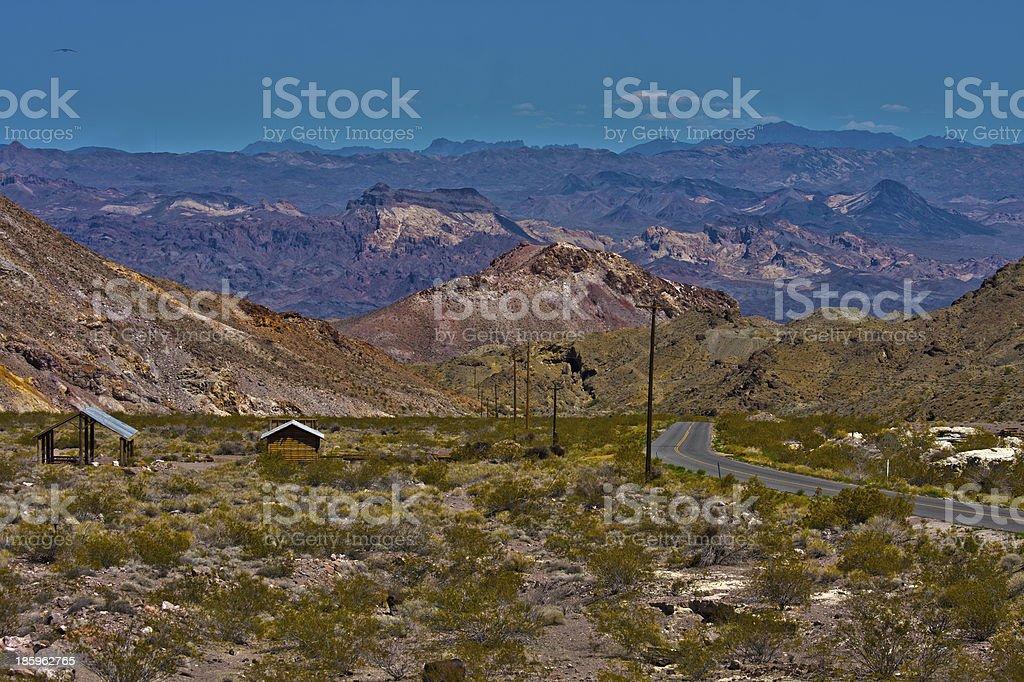 Old Nevada desert highway, Eldorado Canyon, Nelson stock photo
