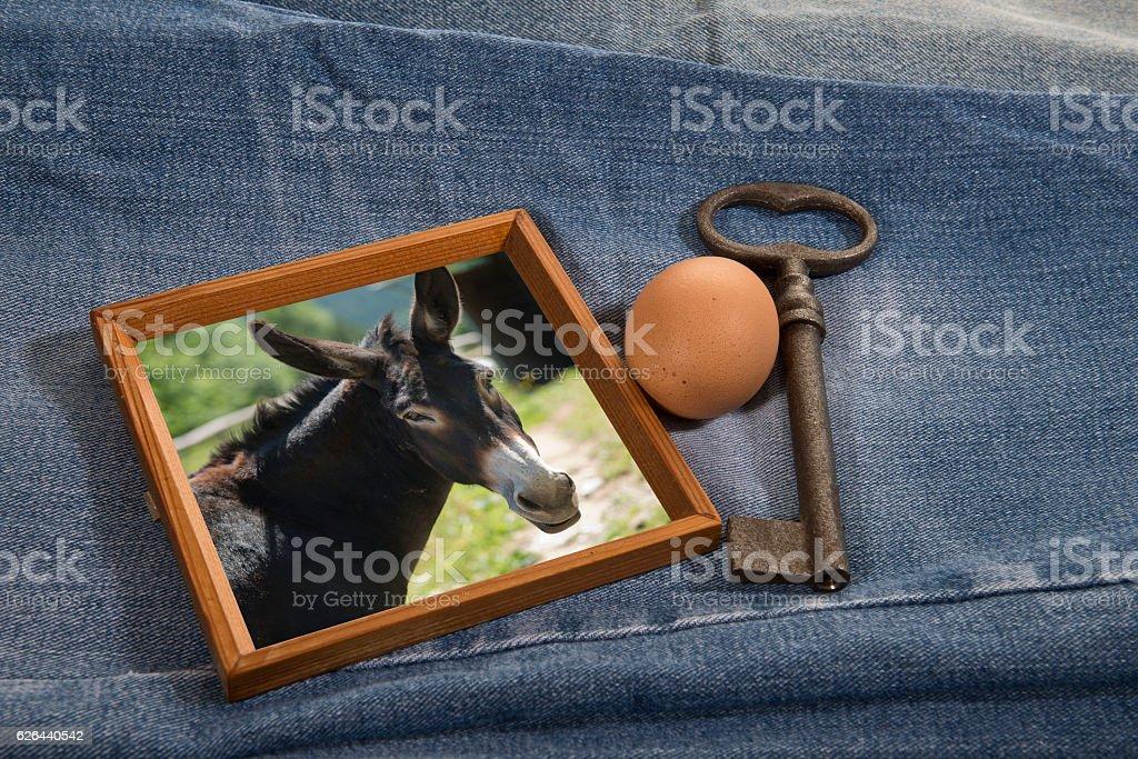 Old (key), New (husband, donkey), Borrowed (egg), Blue (jeans) stock photo