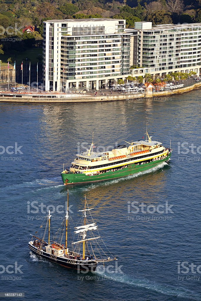 Old & New In Sydney Harbour royalty-free stock photo