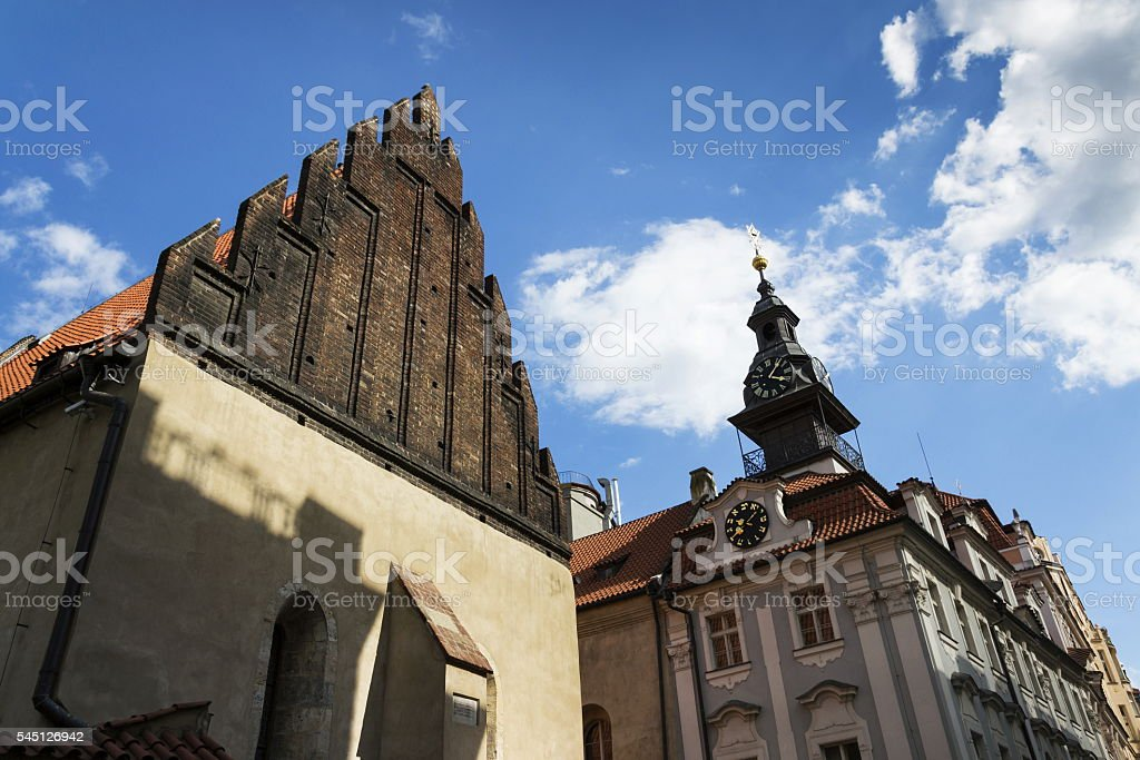 Old New Synagogue in Prague - oldest active European synagogue stock photo