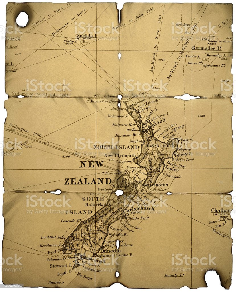 Old New Zealand Map stock photo