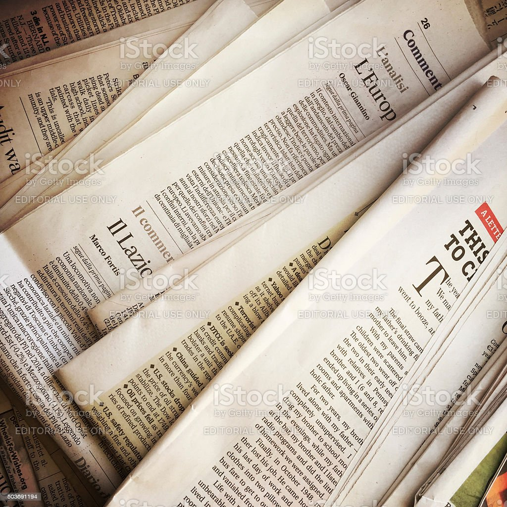Old Newspapers in a Stack stock photo