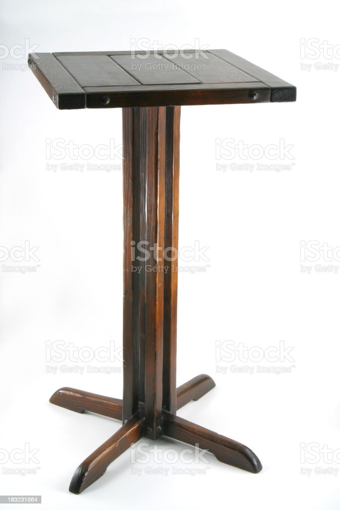 Old Nickknack Table Isolated, Wood Pedestal stock photo