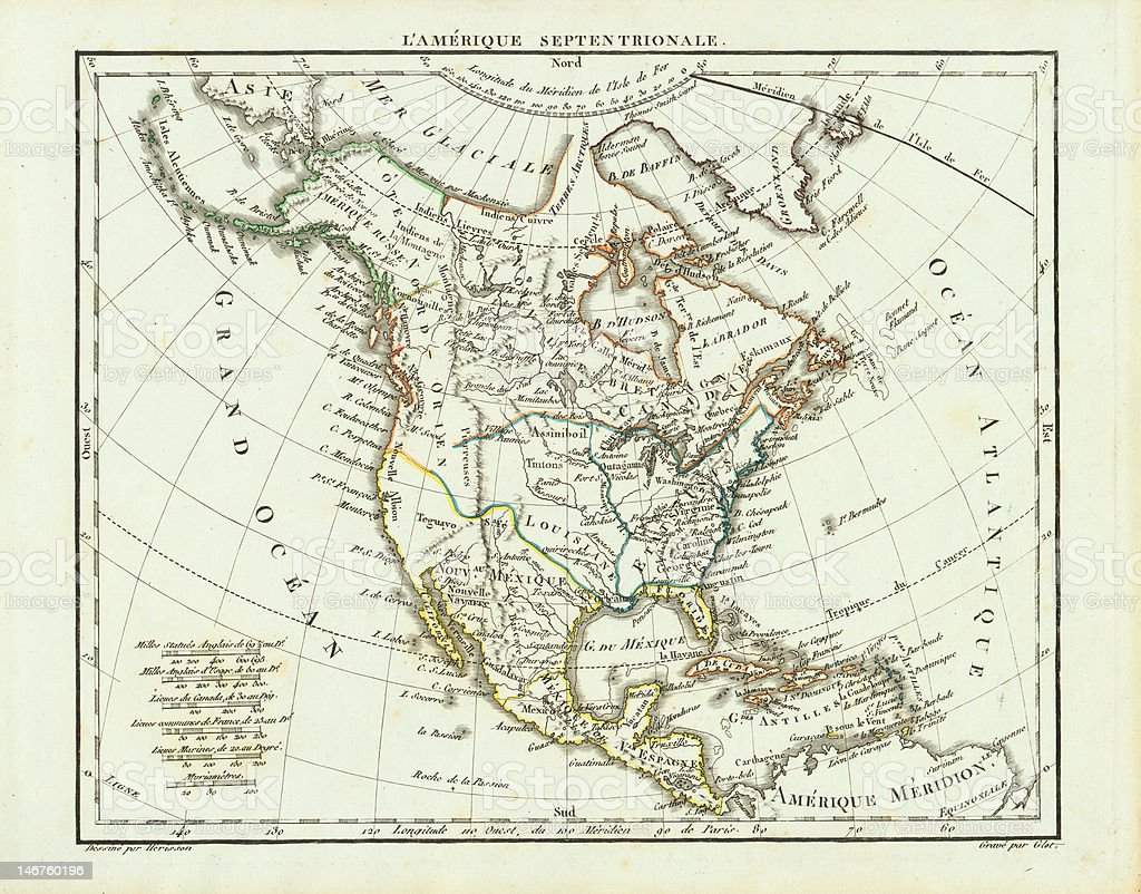 Old North America Map stock photo