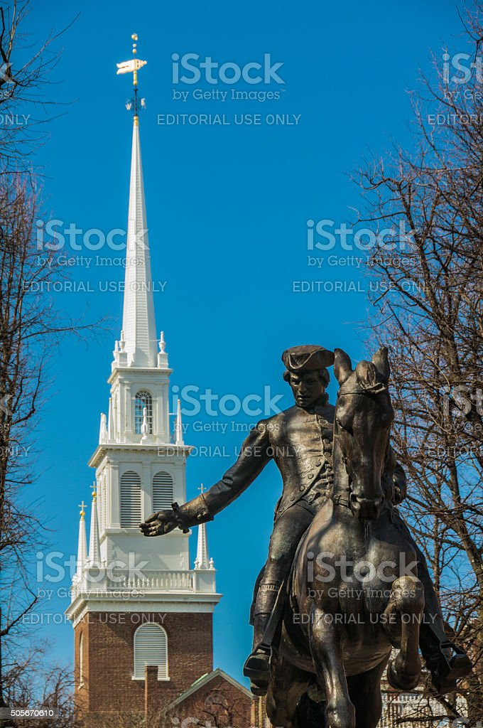 Old North Church and Paul Revere stock photo