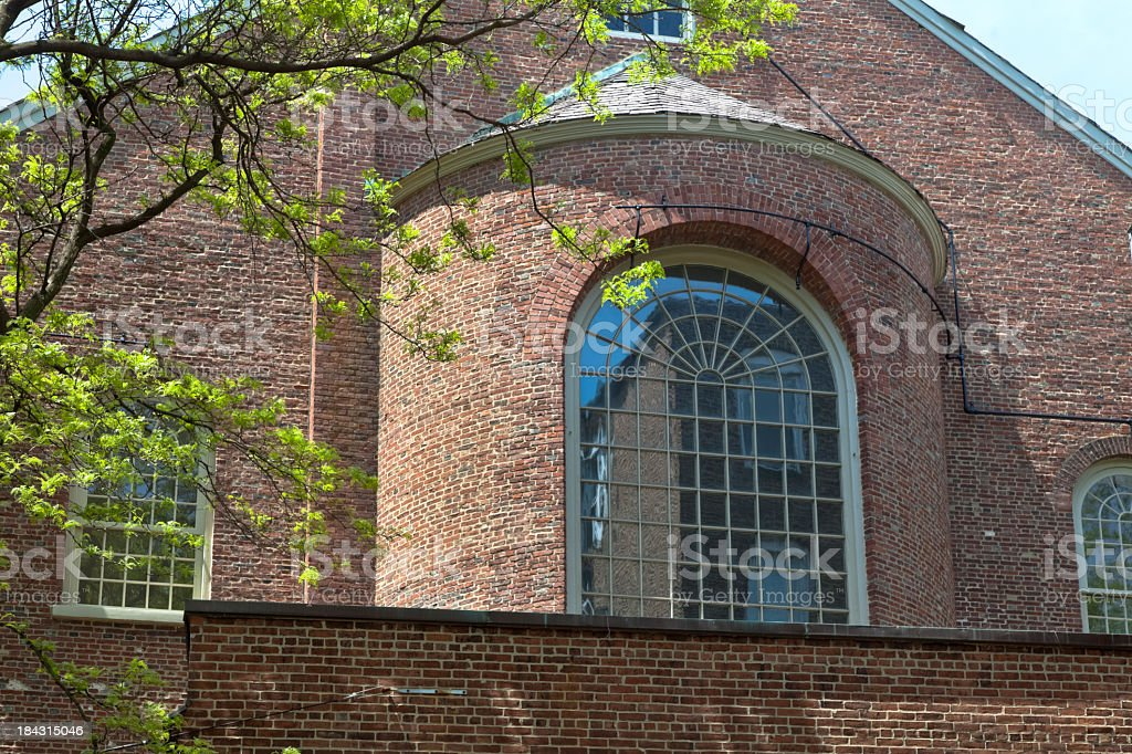 Old North Church's West Facade, Rounded Sanctuary and Paladian Window stock photo