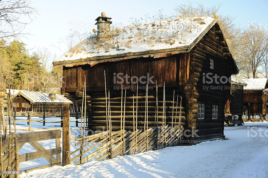 Old Norwegian huts royalty-free stock photo