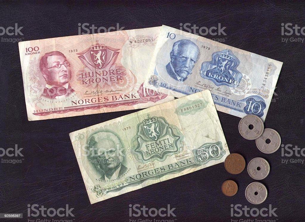 Old Norwegian money royalty-free stock photo