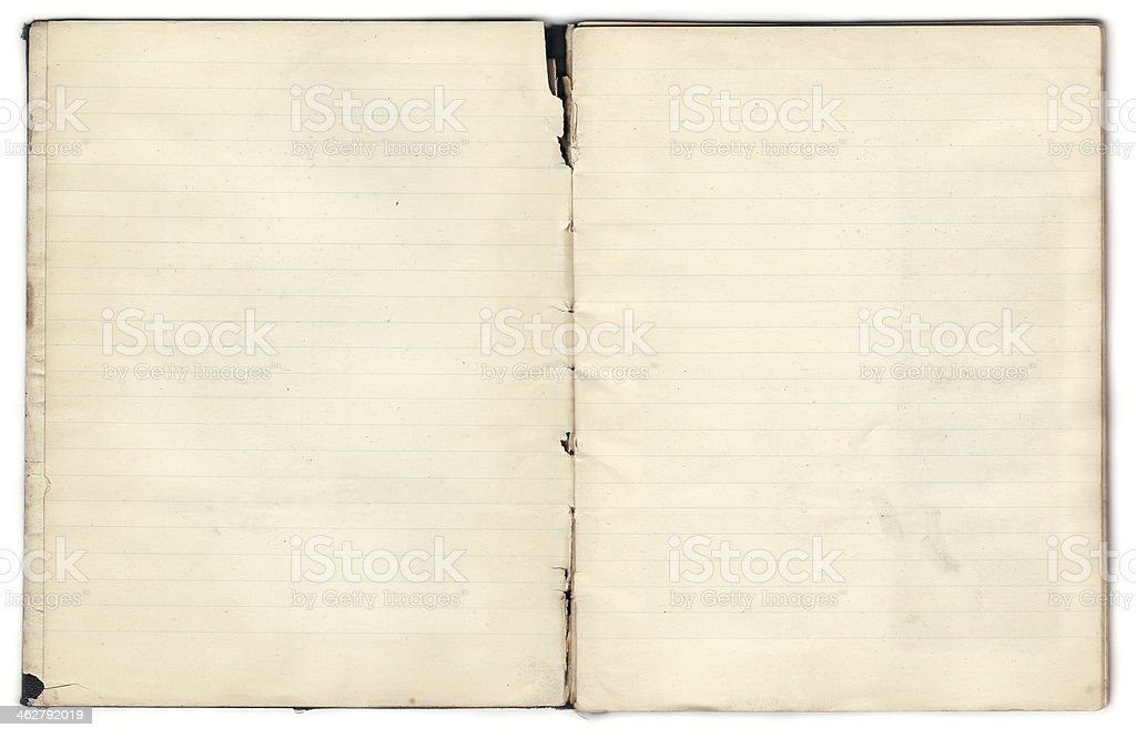Vecchio Notebook – vuoto all'interno di pagine (include Clipping Path) foto stock royalty-free
