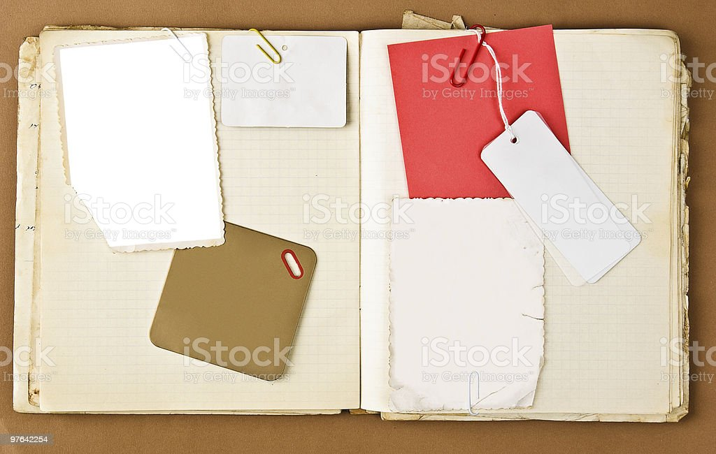 Old notebook with labels and photo frame royalty-free stock photo