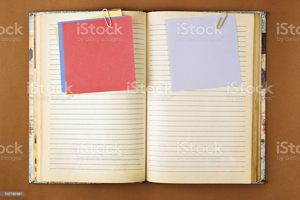 Old notebook with stained pages royalty-free stock photo