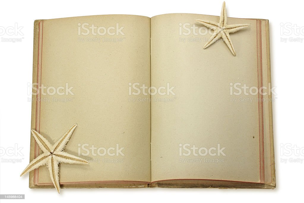 old notepad and starfish royalty-free stock photo