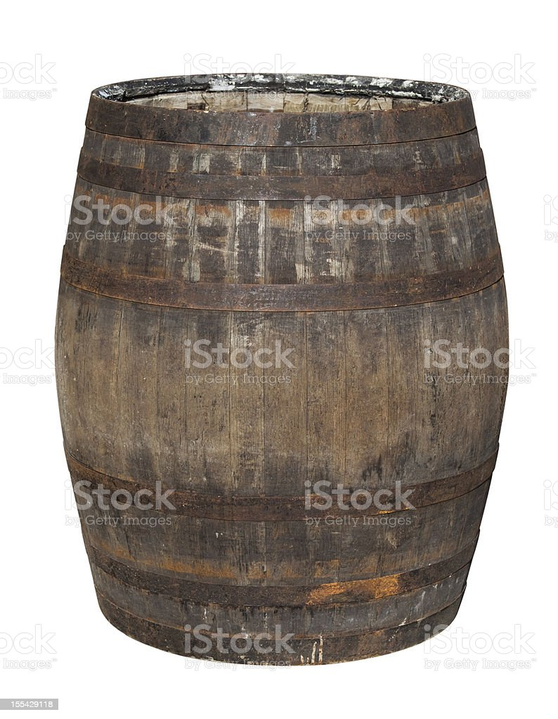 Old Oak Barrel Isolated on White stock photo