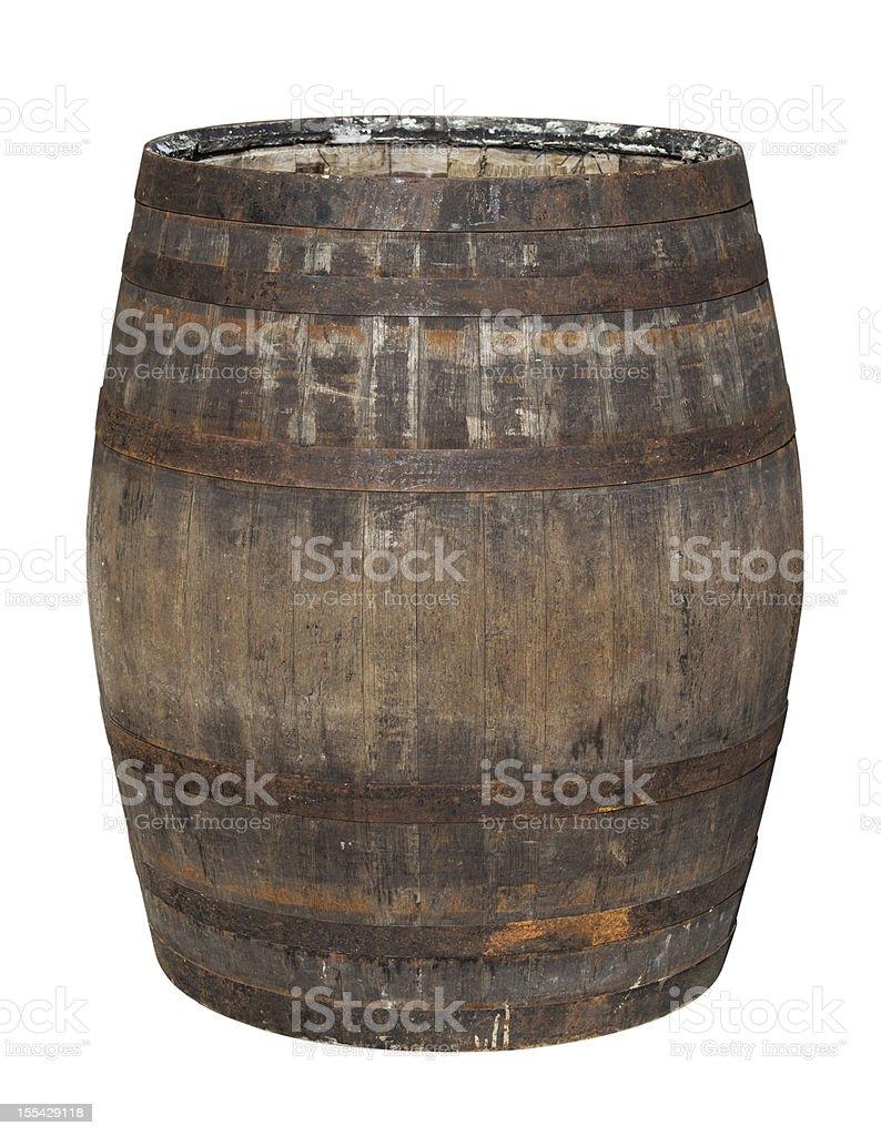 Old Oak Barrel Isolated on White stock photo