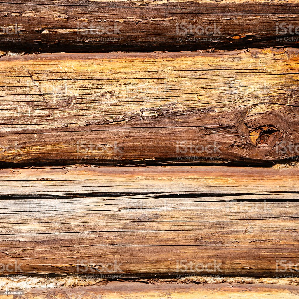old oak beams of country house wall stock photo