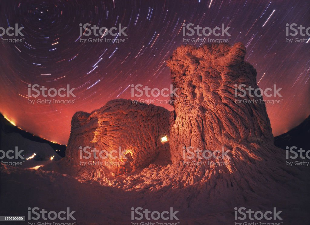 Old Observatory and the night sky stock photo