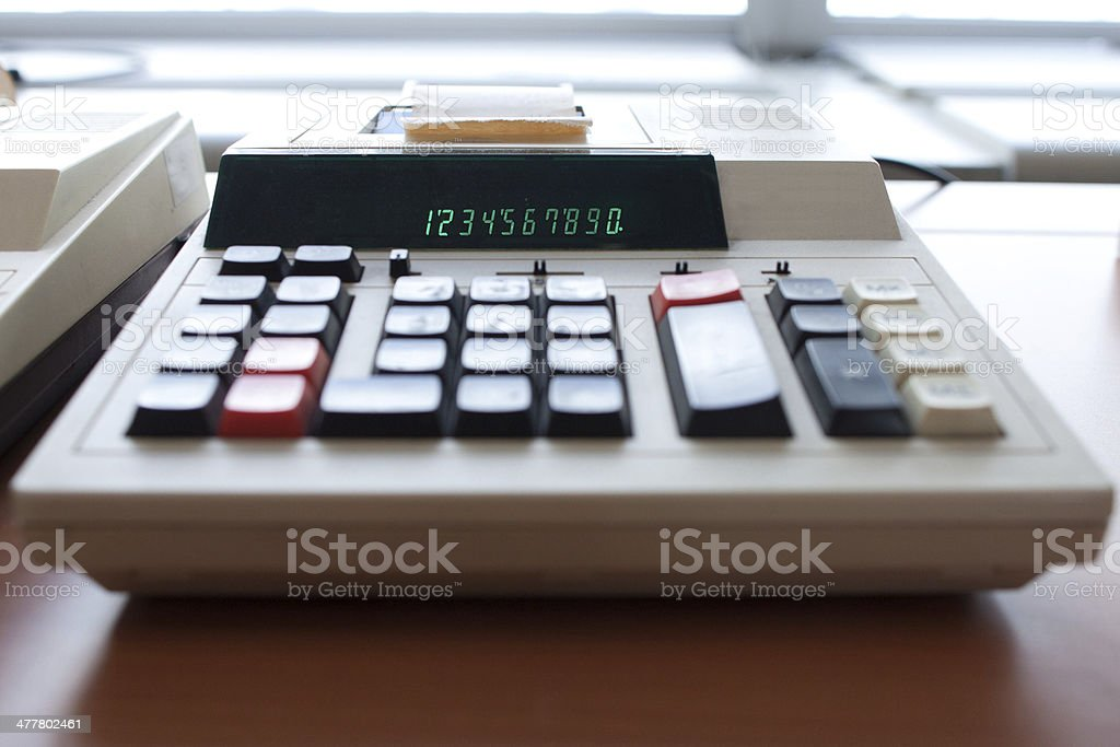 old office calculator stock photo