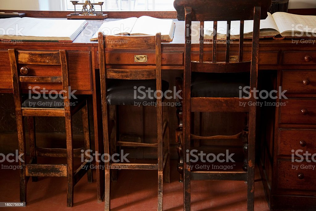 Old office chairs and desk stock photo