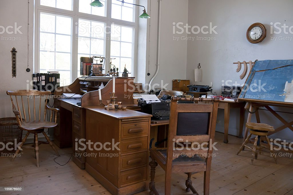 Old office in a factory stock photo