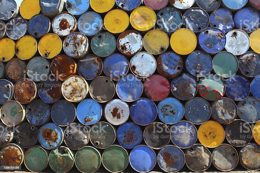 old oil barrel stock photo