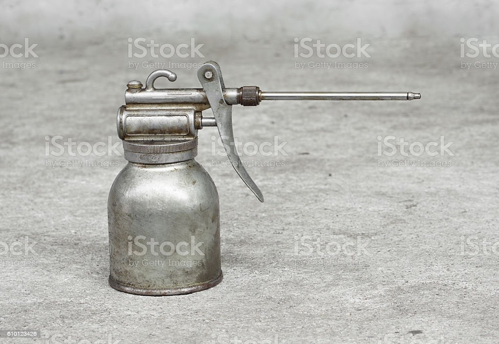Old oil can stock photo