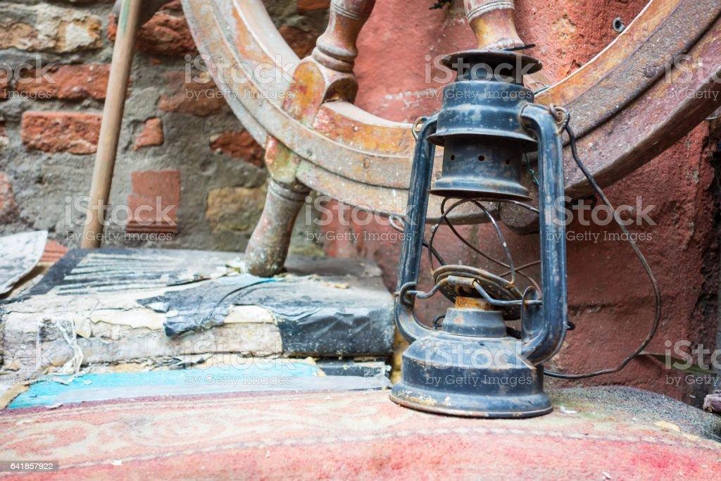 old oil lamp closeup stock photo