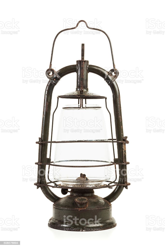 Old oil lamp isolated stock photo