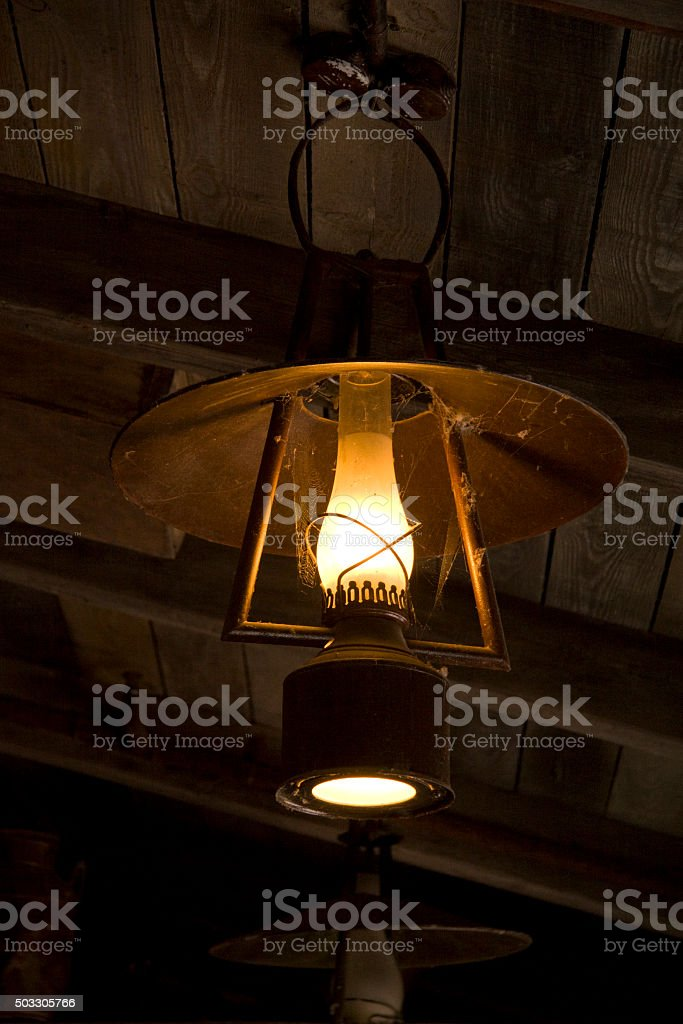 Old oil lamp stock photo