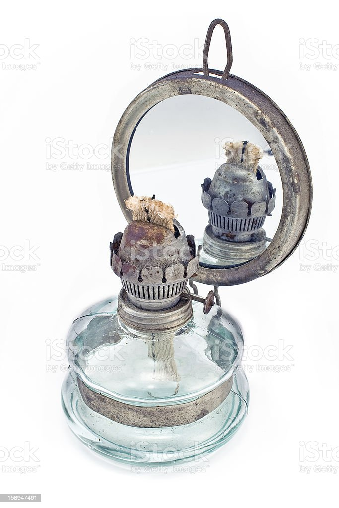 Old oil lamp with mirror royalty-free stock photo