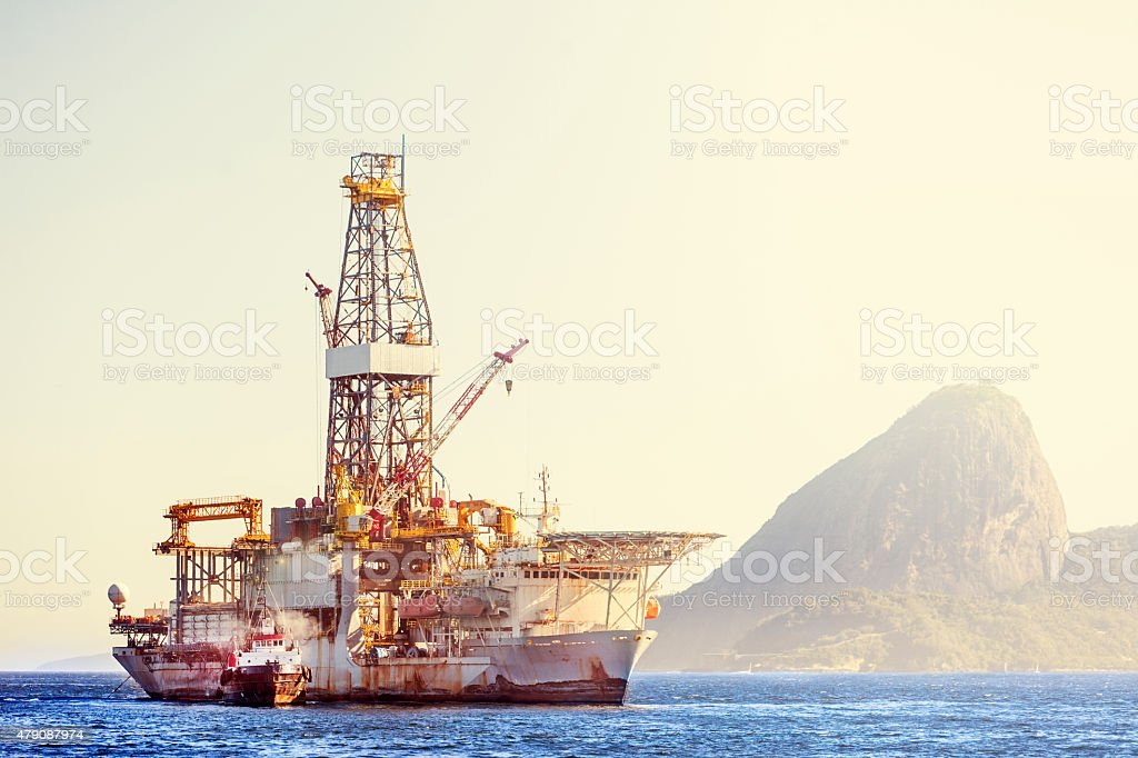 Old oil offshore ship stock photo