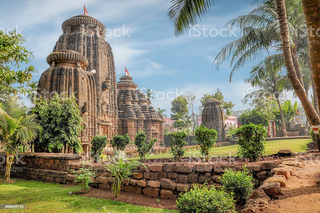 Old old temple in Bhubaneswar, India stock photo