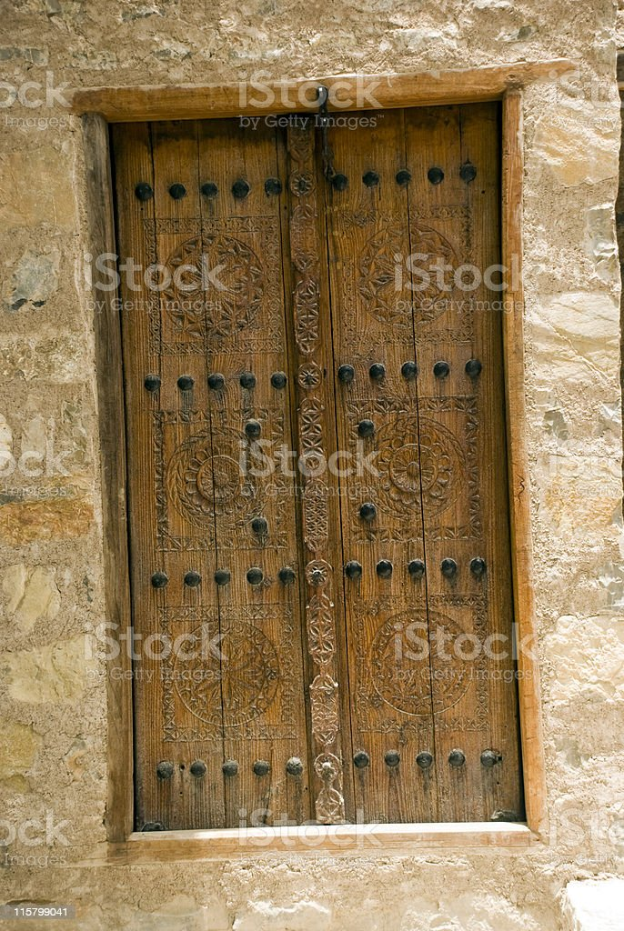 Old Omani house door detail stock photo