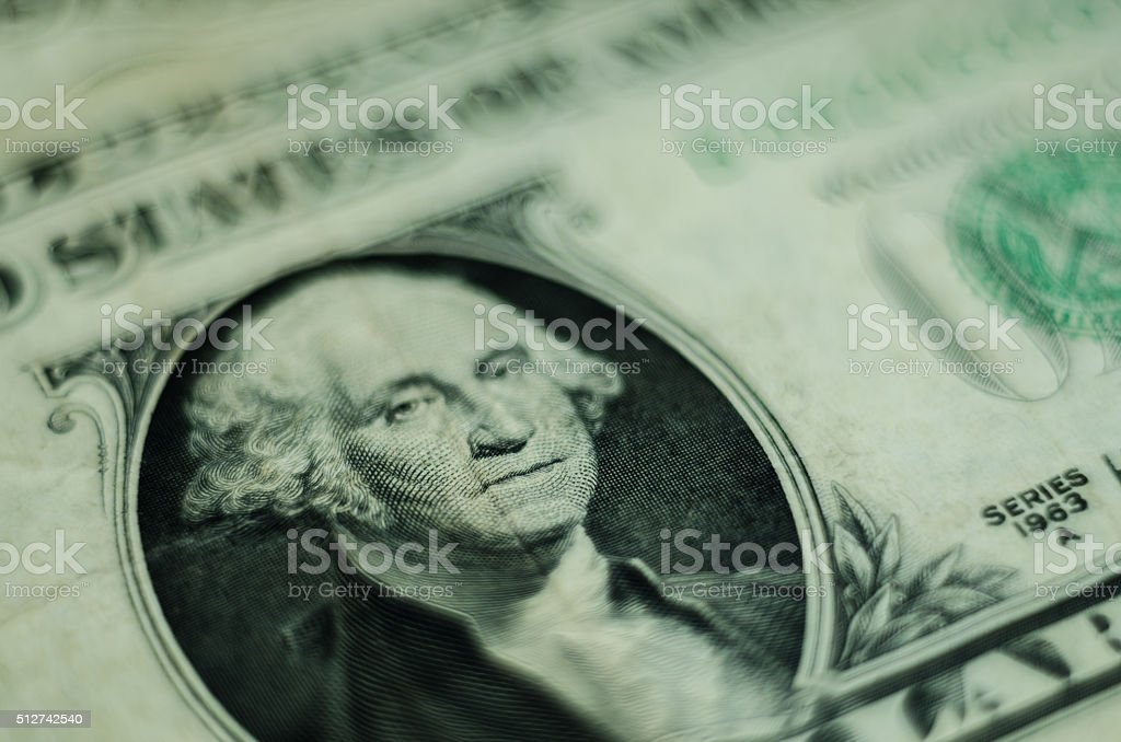 Old One Dollars Banknote Closeup stock photo