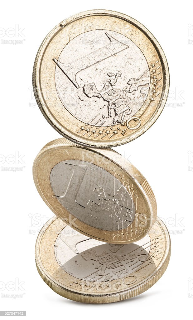 Old one euro coins. stock photo